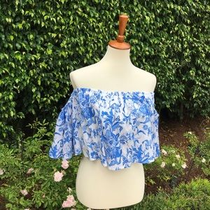 Zara Blue Floral Off Shoulder Cropped Blouse